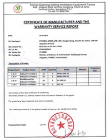 Certificate of Manufacturer and Warranty Service Passport Sign